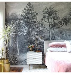 How gorgeous is this bedroom designed by @k.laingdesign in her beautiful home. Love the pink set against the dark wall. Shop the mural with us, it's named Jungle land. Drop by our showroom to see it in person or take a look online . . . #rebelwalls #wallpaper #wallart #wallmurals #homedecor #home #business #inspiration #thevelveteenrabbit #furniture #mirrors #lighting #vintage #new