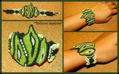 Green macrame bracelet with czech glass beads :)