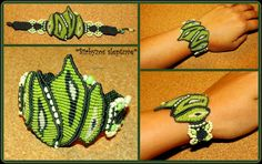 Green macrame bracelet with czech glass beads :)