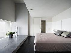 quarto minimalista de concreto