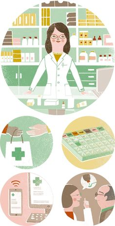 Marta Antelo creates these illustrations for an article about the benefits of the contemporary pharmacy.