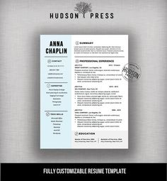 Resume Template | CV Template | Modern Resume Design + Cover Letter | Mac  Or PC