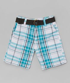 Loving this Blue & White Plaid Belted Shorts - Toddler on #zulily! #zulilyfinds