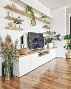 Awesome Home Decoration Ideas – living room – einrichtungsideen wohnzimmer Living Room Wall Units, Living Room Tv Unit Designs, Home Living Room, Living Room Decor With Tv, Apartment Living, Ikea Tv Wall Unit, Living Room Without Sofa, Small Living Room Storage, Apartment Hacks