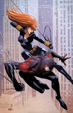 Spider-Man & Black Widow by Leinil Yu.