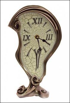 Art Nouveau Melting Clock - cold cast bronze