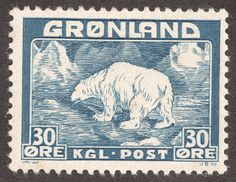 "Greenland 1938 Scott 7 30o blue ""Polar Bear"""