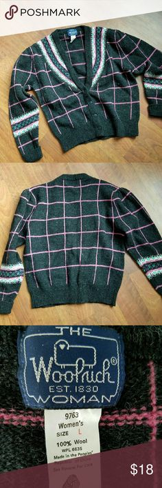 Vintage Navy  Woolrich Cardigan size L This is a blast from the past.  Navy with punk stripes Woolrich brand cardigan sweater. Excellent condition. No moth holes or pulls.  100 % Wool Size Large Woolrich Sweaters Cardigans
