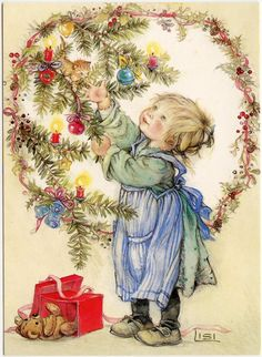 lisi martin | Lisi Martin - Artist Signed - Christmas Kitten. Post card is unused. Navidad