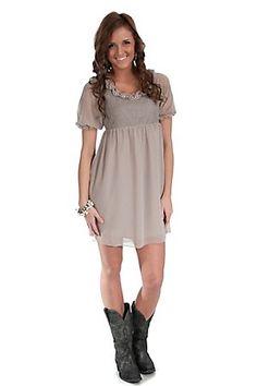 Forla Paris Ladies Taupe with Pearls Short Sleeve Sheer Dress