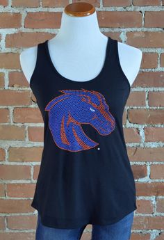 "Team 44 Apparel - BOISE STATE UNIVERSITY, CROSSBACK TANK with 9"" Nailhead Bronco Logo"