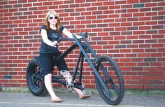 Our Vigilante Stealth Bomber Style Chopper has a unique diamond shaped frame and mag spoke rear wheel. You can build this chopper using a car spare tire and basic bike parts. www.AtomicZombie.com