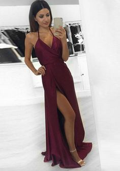 Sexy A-line Backless Prom Dresses, Burgundy Long Prom Dresses, Burgundy V-neck Prom Dresses,Cocktail Evening Dresses, Simple Prom Dresses Online