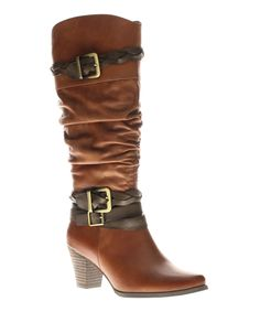 Brown Pilaf Leather Boot | zulily #streetstyle