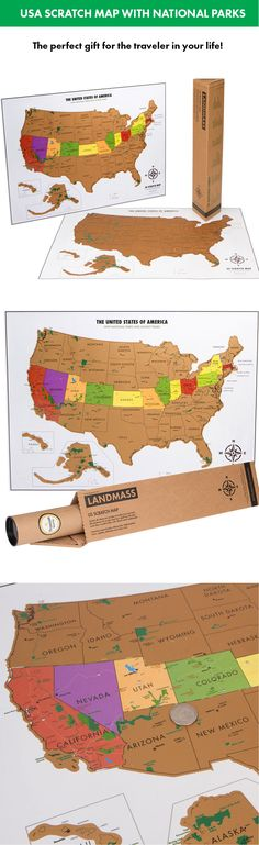 USA Scratch map with national parks, capitals and highest mountain peaks.