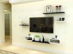 20 Pretty Ideas to Decorate With Floating Shelves, That Make Storage Look Attractive - Modernity Decor Tv Wall Shelves, Unique Wall Shelves, Tv Unit Decor, Wall Shelf Decor, Tv Wall Design, Wall Shelves Design, Bedroom Tv Wall, Modern Tv Wall Units, Floating Shelf Decor