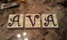 Name art. We could get animal print scrapbook paper and decopage them to wood...paint the letters.