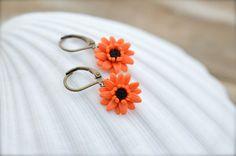 Orange Gerbera Daisy Flower Earrings Orange Flower by Diaszabo