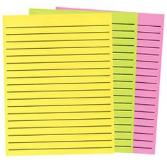 "Thick Line Paper in Neon Colors 3-Pad Set- 1 Yellow - 1 Green - 1 Pink  8.5"" x 11"" paper in neon colors with thick black lines Special set of 3 pads - 1 pad in each color (1 yellow pad, 1 green pad, 1 pink pad) 90 sheets per pad making this a great value with 270 sheets included in this bundle pack! Approx. 1/2"" writing space between lines 18 lines per page (printed on both sides paper)"
