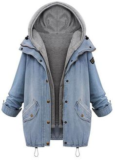 Two-Piece Denim Jacket- Features Snap Button Closures