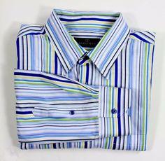 BUGATCHI UOMO Mens XL Striped Long Sleeve Button Front Dress Shirt Blue Stripes #BugatchiUomo
