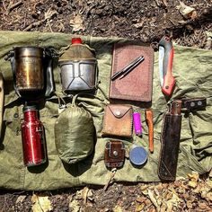 In my satchel: (1st row) Stanley cooker , US Army surplus canteen and cup…