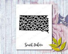 South Dakota digital heart map jpg, png, pdf eps, South Dakota wall art, South Dakota shape with hearts, South Dakota home state art
