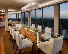 custom 3- form chandelier and custom pimento wood and acrylic dining table