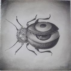"""""""The beetle looks back"""" de Àngela Vieira Graphite sur papier  D'après le court métrage Beetle Trouple"""