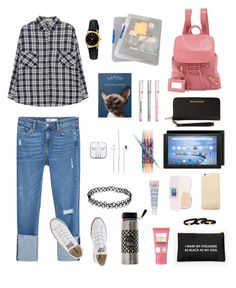 """""""My College Look #1"""" by jia-huii-elio on Polyvore featuring Zara, Balenciaga, Casio, Vera Bradley, Converse, First Aid Beauty, Soap & Glory, Maybelline, Marc Jacobs and Kate Spade"""