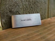 www.MyBellaMarketplace.com  #MyBellaMarketplace  Ammo Cash Custom Hand Stamped Gun Lover Second Ammendment Money Clip with Rifle or Hand Gun Image in Aluminum or Copper by MyBella