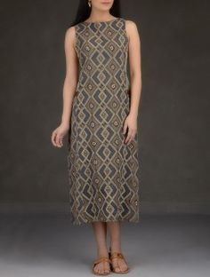 Taupe-Indigo Ajrakh Printed Cotton Dress with Pocket