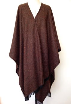 Chocolate Brown Poncho - Herringbone Wool Large Oversized Poncho - Winter Blanket Poncho for Men - Brown Wool Mens Poncho Cape - Made in UK by CardamomClothing on Etsy