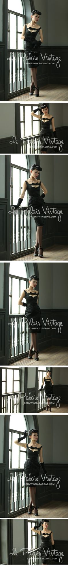 le palais vintage elegant bow hollow black low-cut dress high waist hot drilling 0.3 Taobao global Station