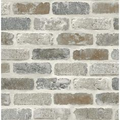 Don't you just love the look of exposed bricks? This Washed Faux Brick peel and stick wallpaper from NextWall boasts an earthy color palette in shades of soft gray and rust for a contemporary look. Printed on smooth vinyl, our peel and stick designs Wallpaper Roll, Peel And Stick Wallpaper, Brick Wallpaper Accent Wall, Adhesive Wallpaper, Wallpaper With Brick Design, Brick Wallpaper Removable, Brick Pattern Wallpaper, Herringbone Wallpaper, Glitter Wallpaper