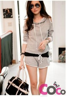 Grey Sport Suit Long Sleeves Hooded Blouse and Short Pants with White Piping