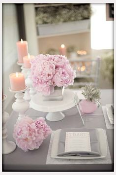 Wedding Flowers, Gray And Pink Wedding Flowers And Decor: wedding flower centerpieces