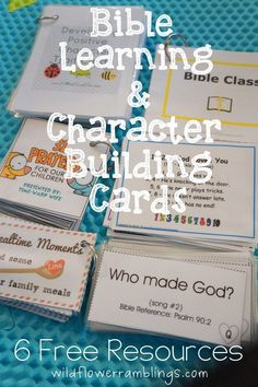 Wild Flower Ramblings has a 6 FREE Resource for Bible Learning and Character Building cards. She gives a description of each and tips on how she u