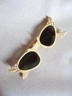 1950s Art Deco style cream lucite sunglasses with by Veramode, £50.00