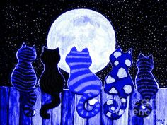 Full Moon Blues Cats Print By Nick Gustafson--- This is perfect!! If only we could find it in a bit bigger print