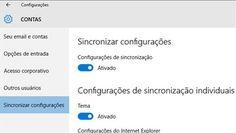 Sincronizar configurações no menu de contas