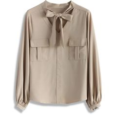 Chicwish Refined Tie-bow Chiffon Top in Almond featuring polyvore women's fashion clothing tops blouses shirts chicwish beige bow tie blouse brown blouse stringers shirts shirts & blouses chiffon shirt