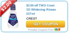 $2.00 off TWO Crest 3D Whitening Rinses 237ml