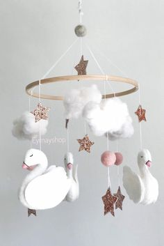 Excited to share the latest addition to my shop: Swans baby nursery mobile baby mobile swans swans nursery felt nurerymobile nursery decor swans Site Bebe, Baby Kicking, Baby Shower, Be My Baby, Fantastic Baby, After Baby, Baby Arrival, Pregnant Mom, Baby Needs