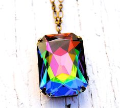 Your place to buy and sell all things handmade Swarovski Crystal Necklace, Crystal Pendant, Swarovski Crystals, Crystal Jewelry, Boxes And Bows, Pink Amethyst, Large Crystals, Pendant Necklace, Bow Necklace