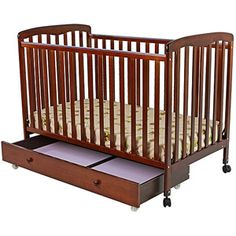 Dream On Me Brianna 2-in-1 Fixed-Side Convertible Crib with Trundle Drawer, Espresso $109.00