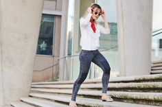 shirt, rüschen, spitze, viktorianisch, jeans, denim, mules, topshop, zalando, bandana, sonnenbrille