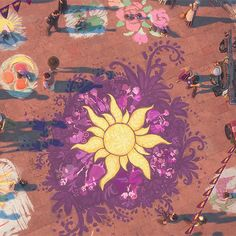 Corona. Were there always people around the sun in Rapunzel's art? I love the other chalk drawings, too. Look at the fruit smiley face on the left! And the roses in the top right!