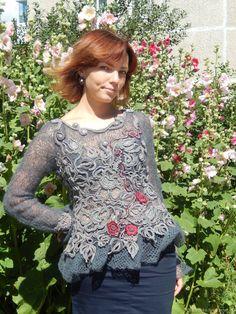 Купить Аленький цветок - ажурный, Авторский дизайн, легкий, серебряный, серый цвет, шерсть, шёлк