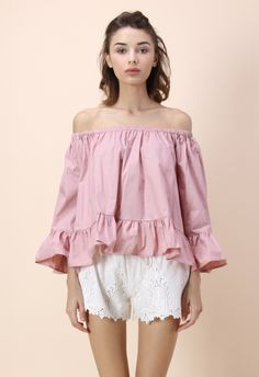 Flowy Delight Off-shoulder Top in Pink - Retro, Indie and Unique Fashion